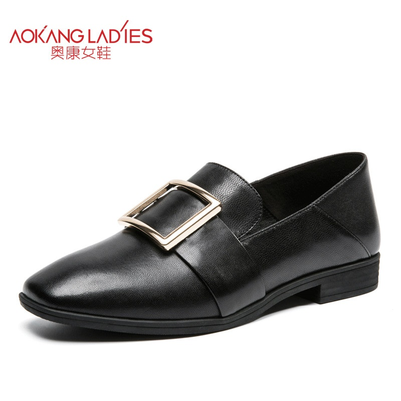 AOKANG 2017 New Arrival Women pumps genuine leather shoes ladies shoes Brand Women shoes Women fashion shoes aokang 2017 new arrival women flat genuine leather shoes red pink white women shoes breathable and soft free shipping