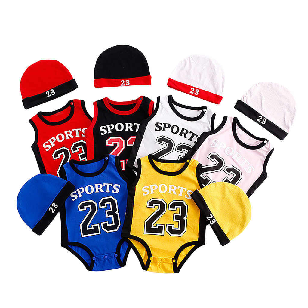 Newborn Baby Girl Boy Clothes <font><b>Jordan</b></font> <font><b>23</b></font> Romper Hat Infant Toddler sports Exercise Sleeveless Bodysuit Jumpsuit Outfits Wholesale image