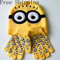 Hot! Cap + gloves Winter Hat Children Cartoon Hats Minions Glove Sets Fashion Baby Kids Warm Knit Small yellow people Gloves Hat