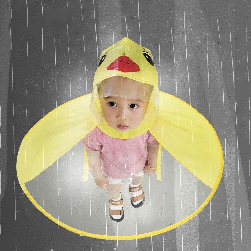 Cute Yellow Duck Raincoat Childrens Poncho Transparent Foldable Creative Poncho of rain Cover