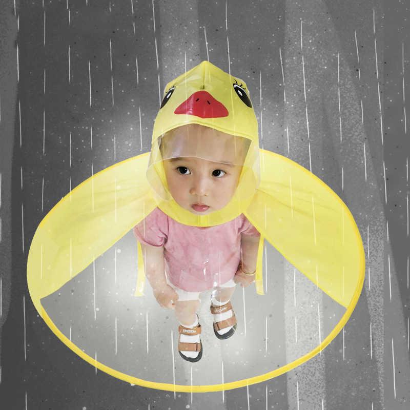 9dcb8386f397 Creative Poncho Children's Raincoat UFO Rain Coat Cover Funny Baby Outdoor  Play Supplies Duck Raincoat Wholesale Transparent