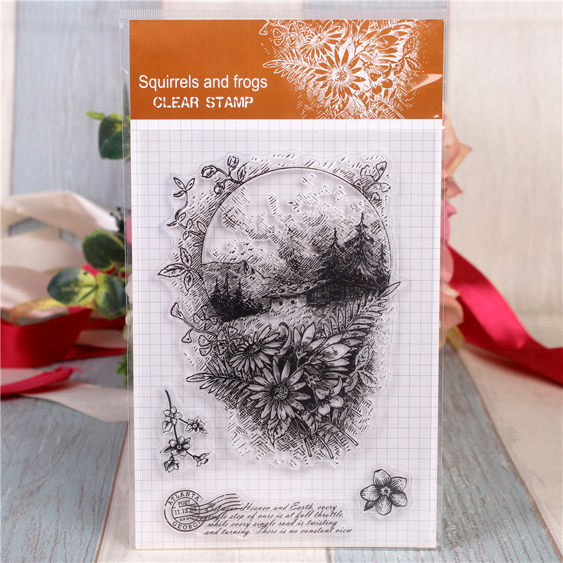Rubber Silicone Clear Stamps for Scrapbooking Tampons Transparents Seal Background Stamp Card Making Diy Flower House Stempel