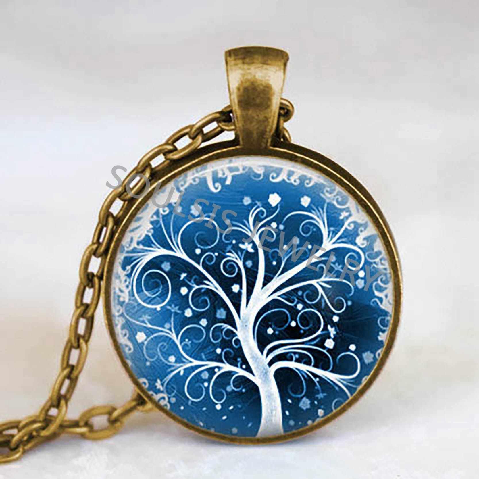 Life Tree จี้สร้อยคอแก้ว Cabochon สร้อยคอ Long Chain Vintage Choker สร้อยคอผู้หญิงเครื่องประดับ