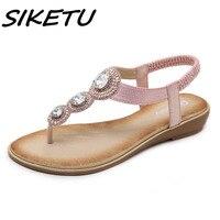 SIKETU Women Sandals Summer 2018 Gladiator Shoes Woman Bohemia Women Flat Casual Sandals Fashion Crystal Flip