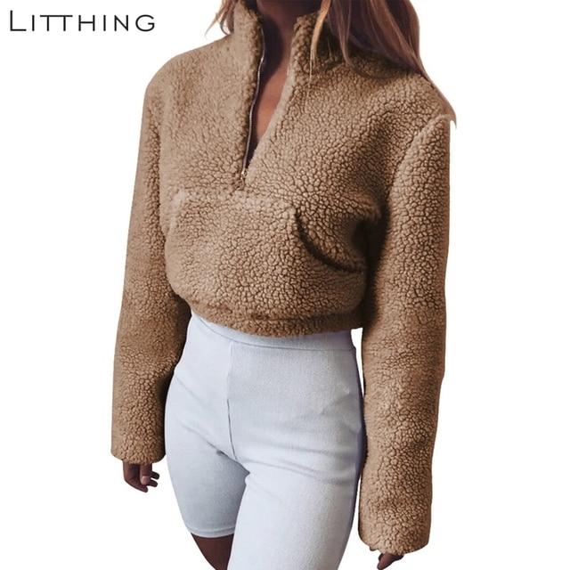 97bd8682868 LITTHING Fluffy Turtleneck Crop Top Pullover Zipper Collar Warm Faux Fur  Fashion Women Winter Jumper Loose Sleeves Oversized Top