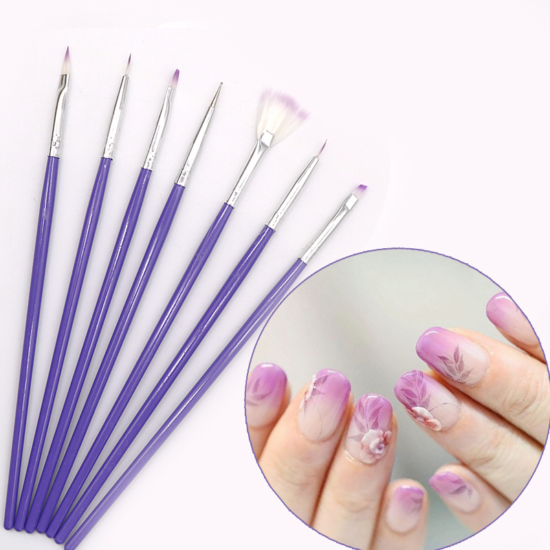 7pcs Purple DIY Painting Dotting Tool Brushes Pen Set Nail Design Brush Manicure Pedicure Make Up Nail Art Dotting Pen Brushes