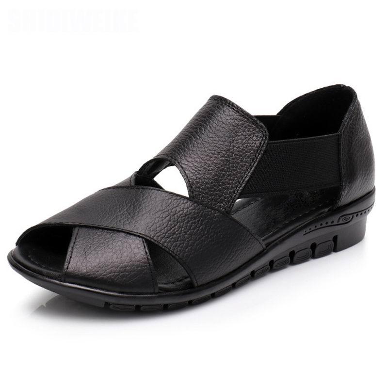Image 2 - GKTINOO 2020 Summer Gladiator Rome Casual Sandals Women Shoes Sandalia Feminina Genuine Leather Wedge Heel Comfort SandalsLow Heels   -