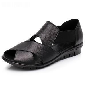 Image 2 - Сандалии GKTINOO женские в римском стиле, повседневные босоножки из натуральной кожи, удобная обувь на танкетке, лето 2020