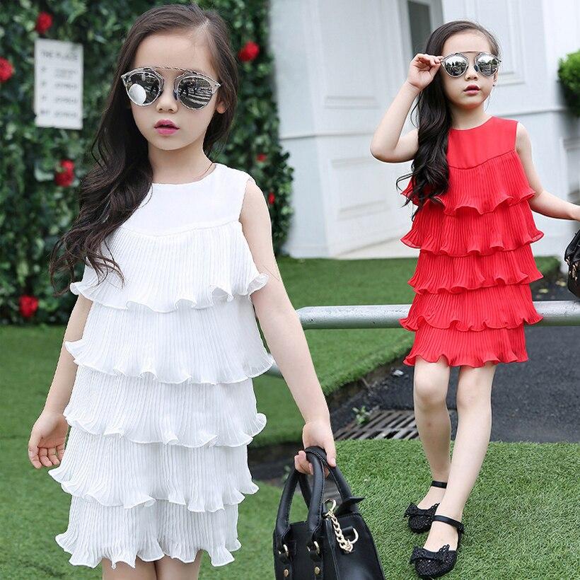 Girl dress wrinkles new summer 2017 girl wearing red and white dress mermaid dress 10 years sleeveless dress 4-13 year old 4