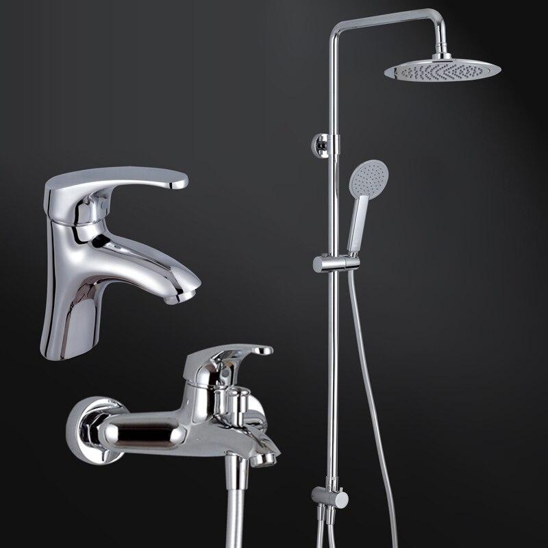 Modern Chrome Finish Brass Bathroom Rain Shower Set Faucet ABS Showerhead W/ ABS Hand Shower Spray Mixer Tap Wall Mounted