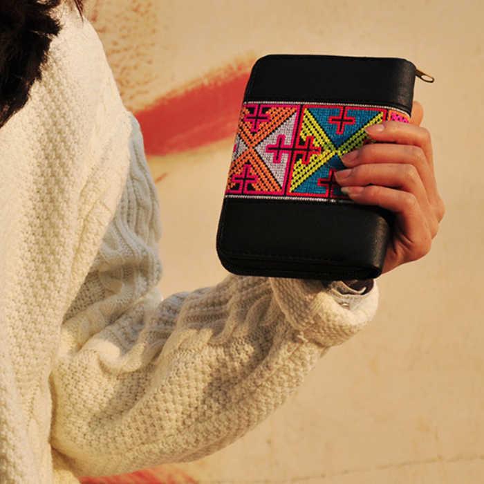 2018 Mới Hoa Thêu da Ví thẻ điện thoại đồng xu Ví Handmade Dân Tộc hoa Thêu túi xách ngắn cho cô gái món quà