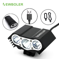 NEWBOLER Bike Lights USB Rechargeable Battery Lamp Bicycle LED Light Cycling MTB Headlamp Head Flashlight Accessories