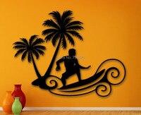 Menino adesivos de parede surfando da onda praia esportes radicais Palms Art Vinyl Decal quarto sala de estar adesivo removível casa decoração