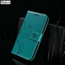 DULCII Case for Lenovo A 536 A536 Phone Bag Imprint Flower Butterfly PU Leather Wallet Shell  Mobile Smartphone Fundas