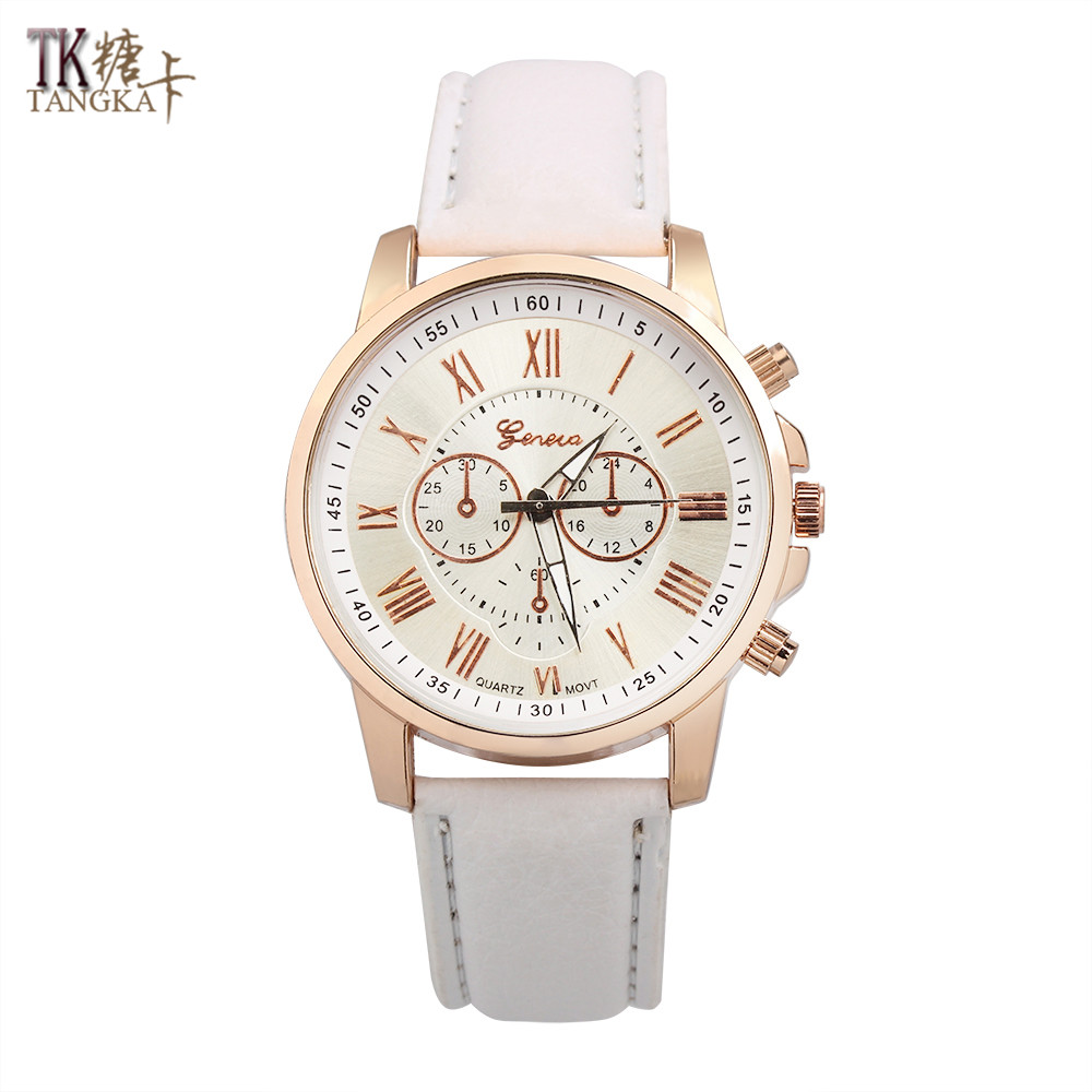 NEW Best Quality Geneva Women's watch 12 color Luxury PU leather watchbands clock Fashion quartz Wrist watches gifts ultra luxury 2 3 5 modes german motor watch winder white color wooden black pu leater inside automatic watch winder