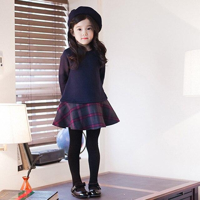 Толстые теплые девушка платье принцессы Детские Обувь для девочек клетчатые зимние Вельветовое платье Одежда для вечеринок Детские Костюмы Семейные комплекты