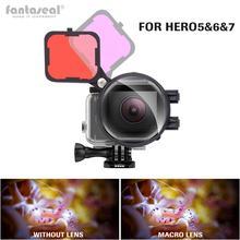 Filtre de Correction de couleur Magenta rouge avec objectif Macro 16X pour Gopro Hero 7 6 5 boîtier noir ensemble de filtres sous marine