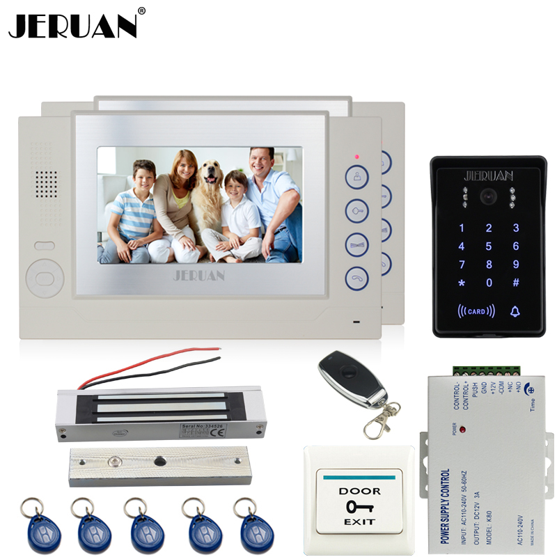 JERUAN 7`` video door phone Record intercom system Kit 2 monitor 700TVL waterproof Touch Key password keypad Camera 8G SD Card jeruan 7 lcd video door phone record intercom system 3 monitor new rfid waterproof touch key password keypad camera 8g sd card