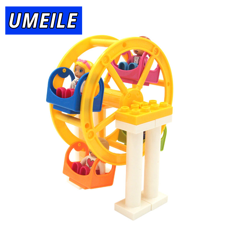 UMEILE Brand Fun Happiness Ferris Wheel Windmill Amusement Park Set Building Block  Play House Kids Toys Compatible with Duplo happiness basics толстовка