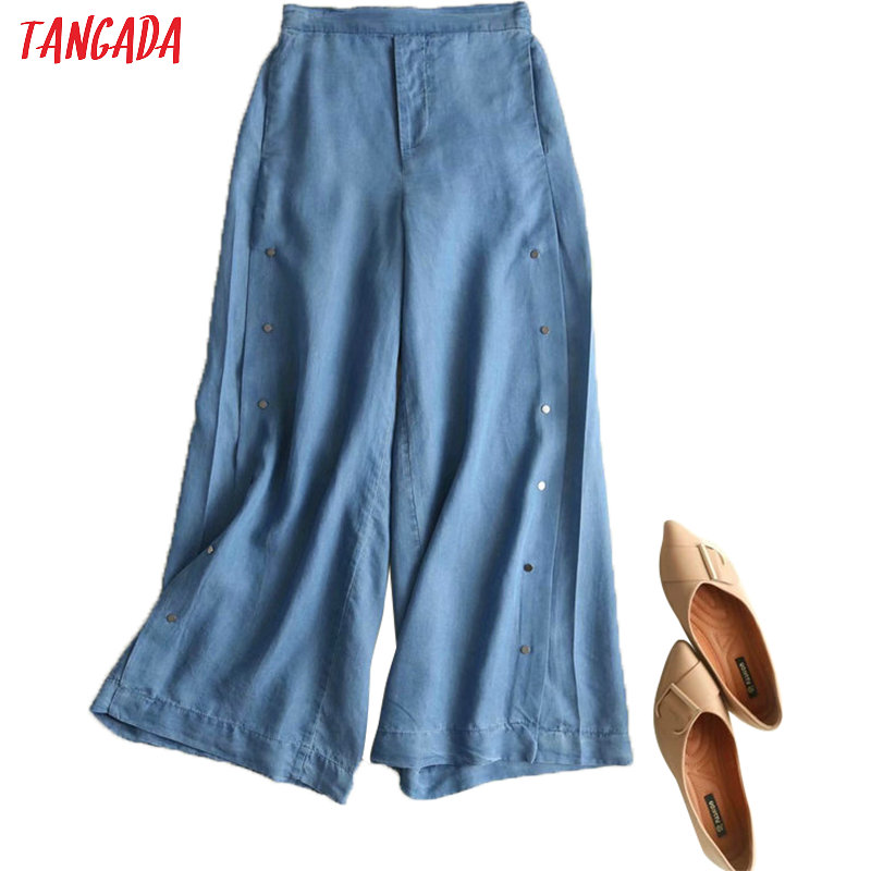 Tangada Women Denim Blue Wide Leg Pants Buttons Ankle Length Trousers Loose Female Crop Pantalones 2P06