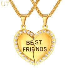 U7 Навсегда Лучший Друг Сердце Кулон Ожерелье Дружба Ювелирные