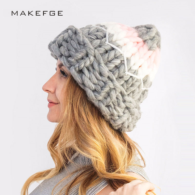 Fashion womens hat winter hats for women Female Winter Hats Hand Coarse Knitted Wool Caps Hat For Women Beanies