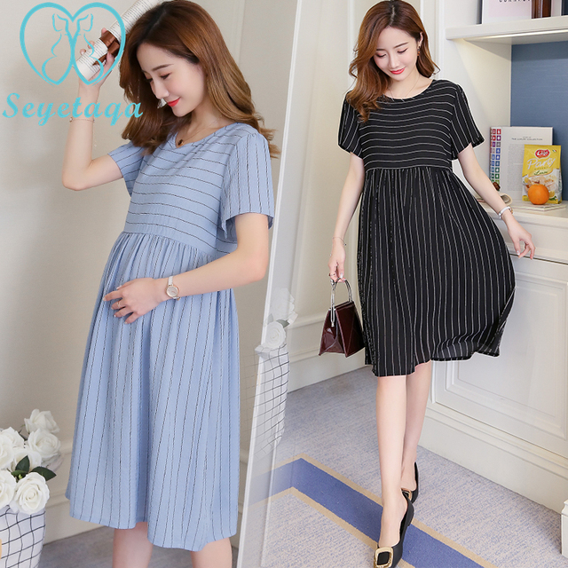 883  Summer Fashion Striped Chiffon Maternity Dress Stylish Clothes for  Pregnant Women Ties Waist Elegant Pregnancy Office Wear c48a5152d9c7