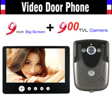 9 Inch Monitor Video Intercom Door Phone Doorbell System 900TVL HD Camera IR Night Vision Wired Video doorphone Kit