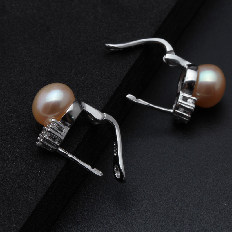 HTB1hqc0nL5TBuNjSspmq6yDRVXav 925 sterling silver earrings with pearl,real black natural freshwater earrings pearl women,clip on earrings