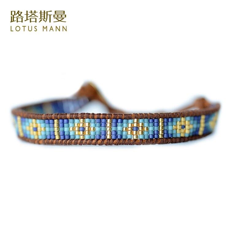 Лотос Манн Синий импорт measle плетеный кожаный шнур коричневый цвет кожи веревку круг браслет 0825
