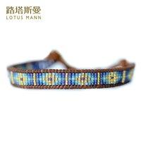 Lotus Mann d'importation Bleu measle tressé cordon en cuir brun couleur en cuir corde bracelet tour 0825