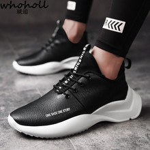 WHOHOLL Man Sneakers 2018 light thick sole platform wedge height-increasing men casual shoes sneakers zapatos hombre