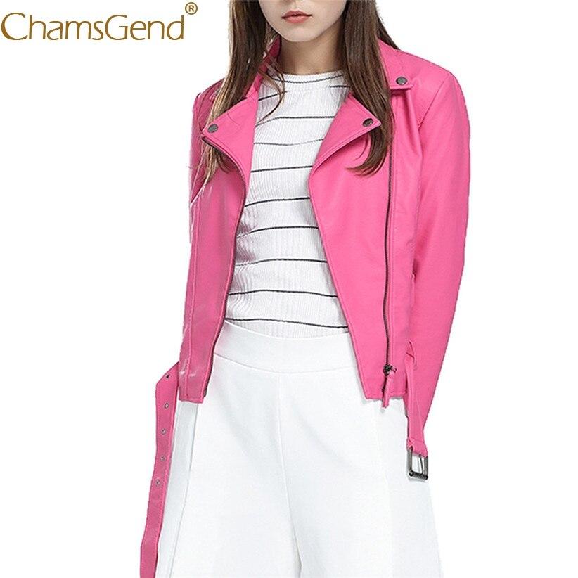 Chamsgend Newly Design Hot Pink Short Jacket Women PU   Leather   Short Coat Crop Top Drop Shipping 71013