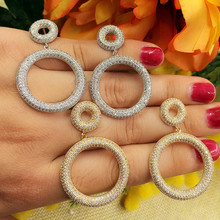 SisCathy Luxury Round Circle Micro Cubic Zirconia Earrings For Women Wedding Bridal Party Engagement Jewelry Gift