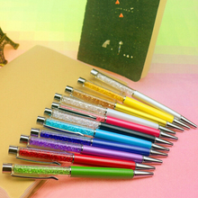 1 Pcs Creative Crystal Pen Diamond Ballpoint Pens Stationery Ballpen Stylus Pen Touch Pen 11 Colors Oily Black Refill 0.7 mm(China)