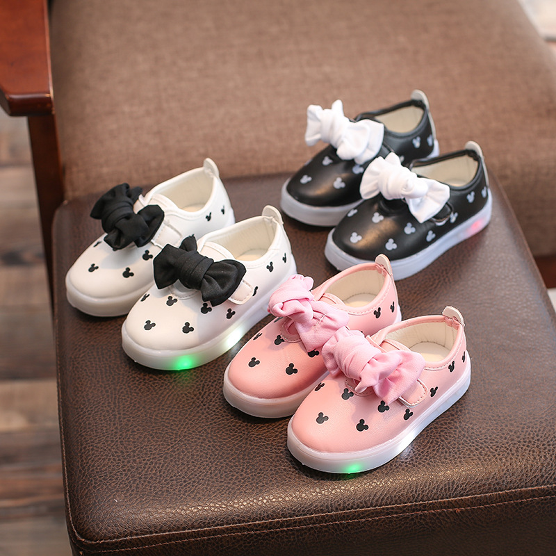 Kids Baby Infant Girls Mickey Print Bowknot LED Luminous Shoes Sneakers Butterfly Knot Cute Casual Wear Little White ShoeSH19045