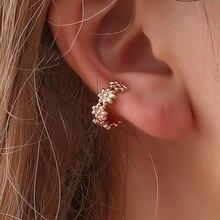 e6af699aaa2d 1 unid cristal metálico hueco Flor del oído vinculada manguito corona en  forma de U pendientes no perforado pendiente del hueso .