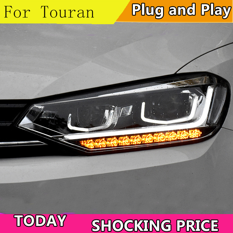 doxa Car Styling Head Lamp case for VW Touran Headlights Touran 2016 2017 LED Headlight DRL Lens Double Beam Bi-Xenon HID