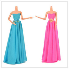 Free Shipping 1set fashion doll clothes doll dress Evening Party Wedding Dress For Barbie Doll toys