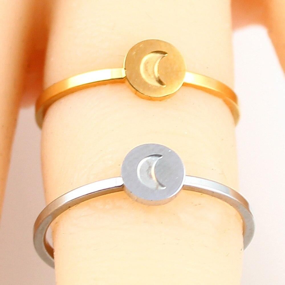 Кольцо в форме сердца с буквами, ювелирные изделия из нержавеющей стали, кольцо для аксессуаров, Серебряное Золотое кольцо на палец, набор ювелирных украшений для женщин - Цвет основного камня: moon-2