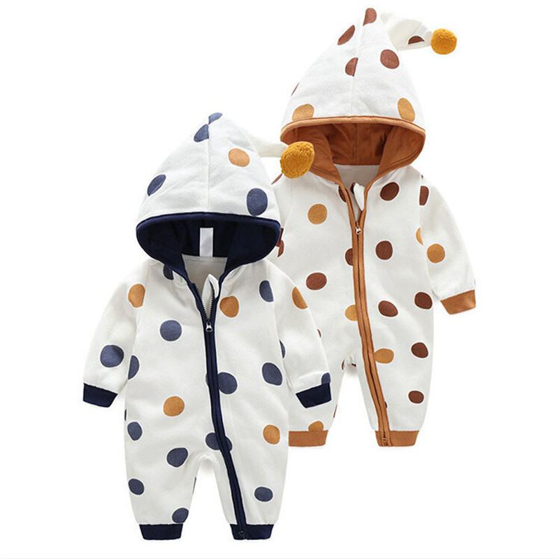 Newborn Baby Clothes Romper Boys Girls Cute Polka Dot Hooded Jumpsuit Spring Autumn Warm Purified Cotton Romper Outfits Set0-24M