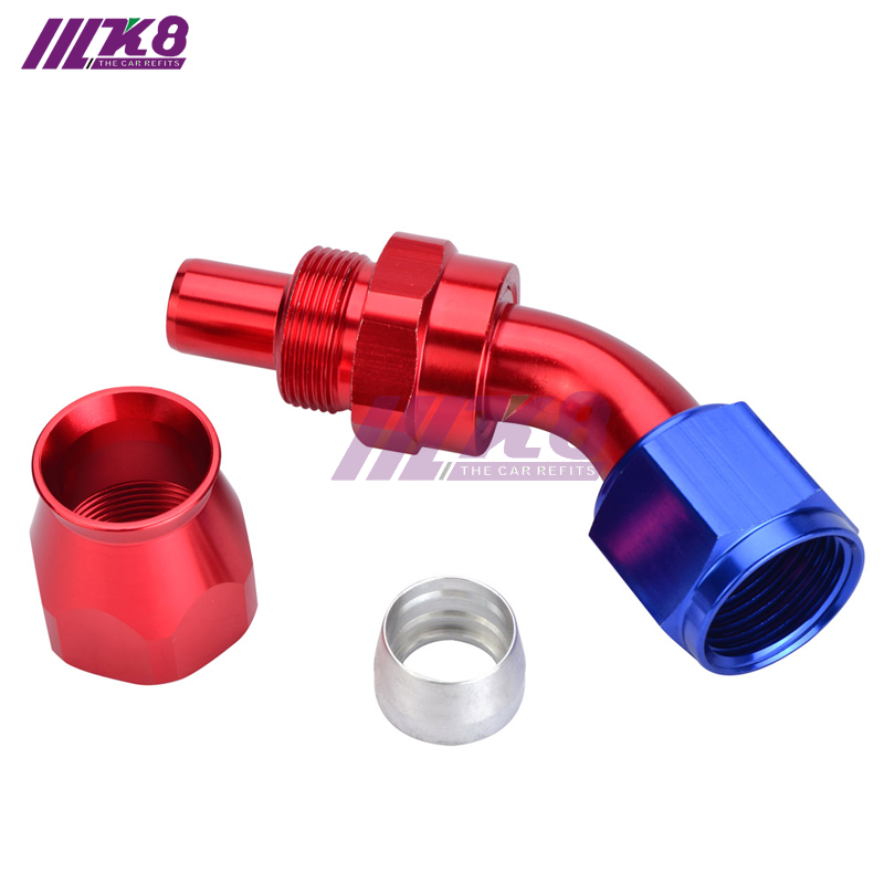 6 AN6 PTFE Telfon Hose End 90 Degree Fittings Car Adaptor Swivel Fuel Line AN