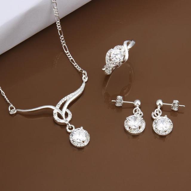 S0605 Atacado, frete grátis hot 925 set jóias de prata, jóia da forma definida Three-Piece Set Jóias