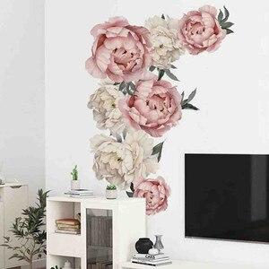 Image 4 - Peony Rose Flowers Wall Sticker Art Nursery Decals Kids Room Home Decor Gift muurstickers voor kinderen kamers decals
