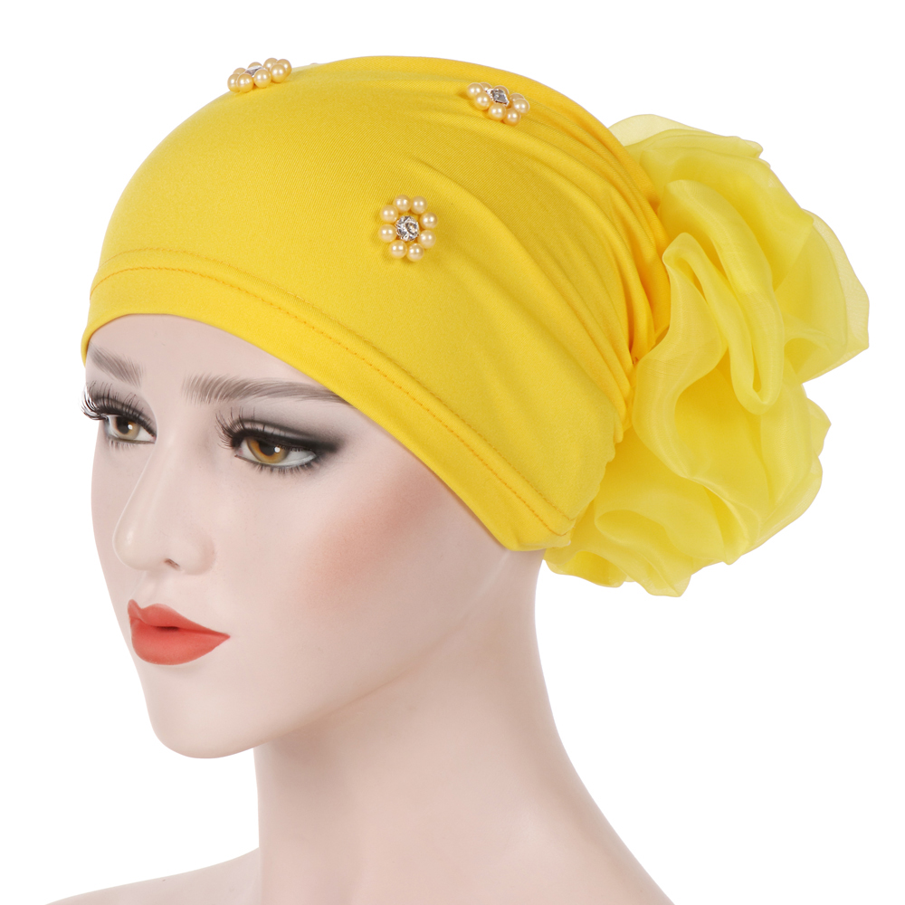New Gold Velvet Elegant Indian Turban Cap Women Big Flower Beads Muslim Hijab Islamic Jersey Chemo Hat Ladies Head Scarf Cover Novelty & Special Use