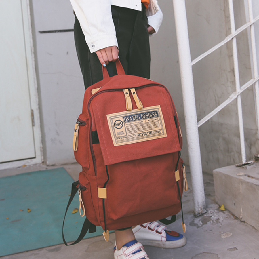 Casual Large Capacity Woman Backpack Korean Style Canvas Unisex Backpack Letter Print School Bag Chic Travel Shoulder Backpack
