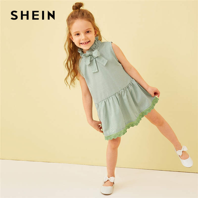 SHEIN Kiddie Green Striped Frilled Tie Neck Lace Hem Girls Cute Dress Summer Sleeveless Button Back A Line Kids Short Dresses black boat neck long sleeves slit hem jumper