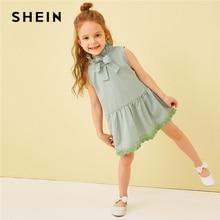 SHEIN Kiddie Striped Frilled Tie Neck Lace Hem Girls Cute Dress 2019 Summer Sleeveless Button Back A Line Kids Short Dresses