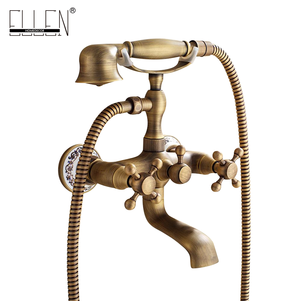 Wall Mounted Bath Shower Faucet With Hand Shower Telephone Bath Faucet Antique Bronze Bathtub Crane Bathroom Shower Faucet SetWall Mounted Bath Shower Faucet With Hand Shower Telephone Bath Faucet Antique Bronze Bathtub Crane Bathroom Shower Faucet Set