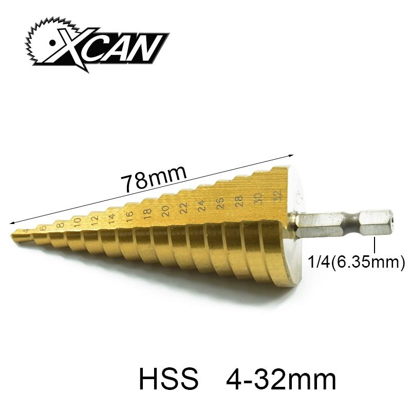 Xcan 1 pz/4-32 strumenti di lavorazione del legno centro drill bit HSS Titanio rivestito Step Drill HSS Etero Flauto Pagoda Trapano Hexagon Shank